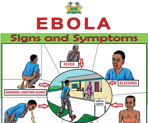 CDC – Sierra Leone Ebola Signes et symptômes Hotline affiche