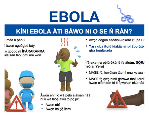 Ebola Poster da consciência do vírus em iorubá