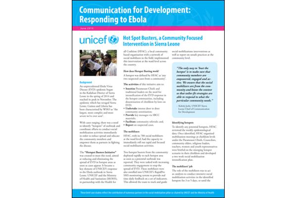 Tipos del punto caliente, una intervención focalizada Comunidad en Sierra Leona